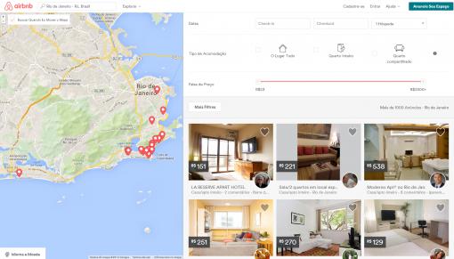Página de pesquisa airbnb