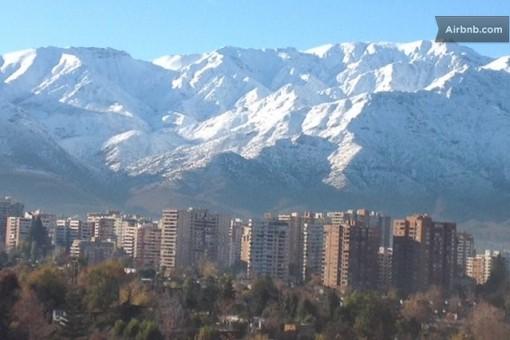 Vista do apartamento que alugamos em Santiago