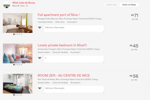 Wish list airbnb