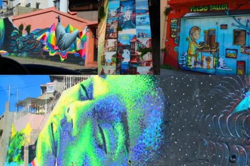 Muros pintados pela cidade de Valparaíso