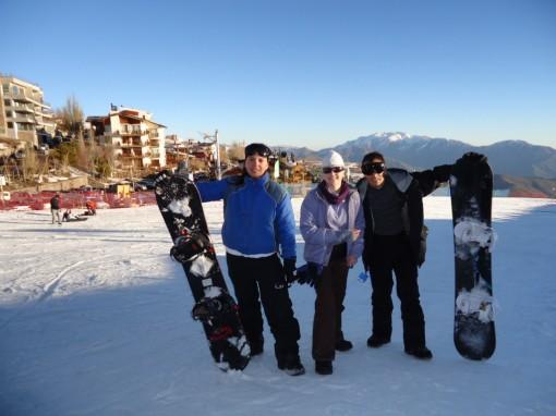 Nós, snowboarders em La Parva