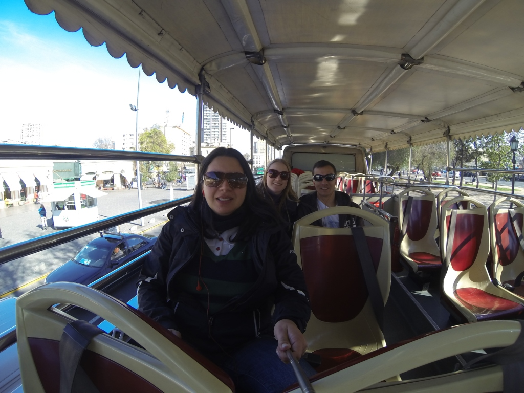 Turtistik, Hop on Hop off Santiago, Chile. Um selfie no ônibus da turistik