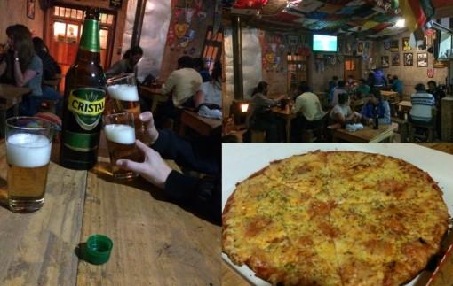 Cerveja e pizza no Chellacabur