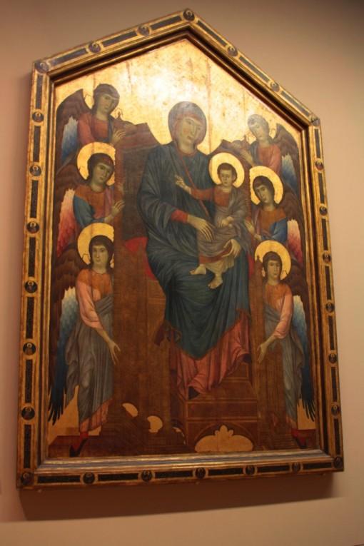 Nossa senhora de todos os dedos. Mas a tela também é conhecida como A virgem e o menino em majestade.