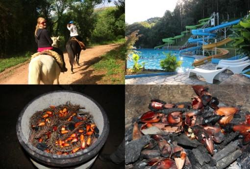 Cavalgada, piscina e pinhão fresquinho. Hummmmm!!!!