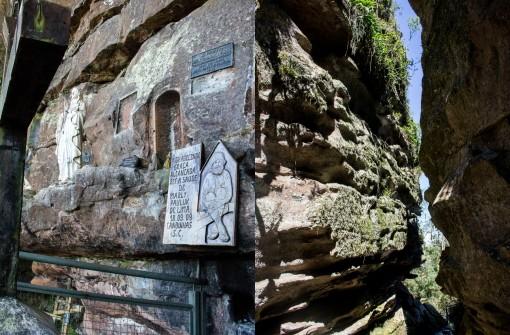 Algumas demonstrações de fé e a fenda nas pedras no Parque do Monge