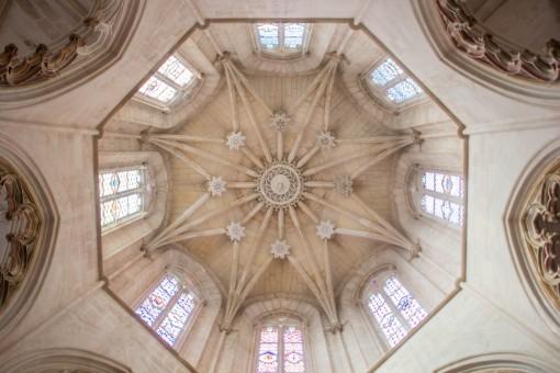 Teto da Capela do Fundador em formato de estrela de oito pontas