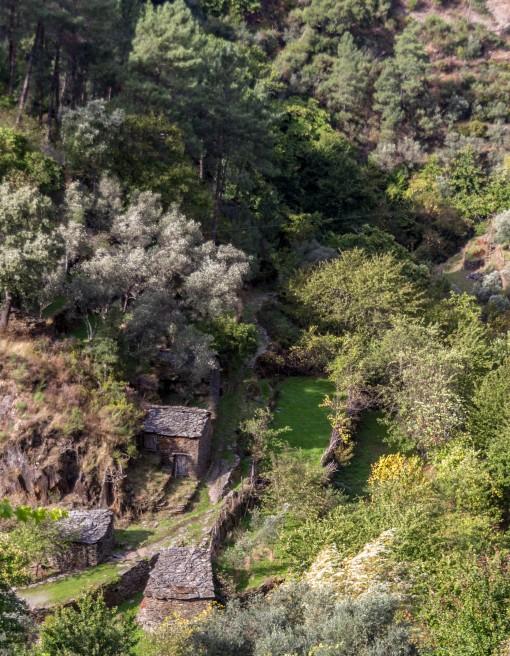Passando pelos arredores de Piódão encontramos muitas casas construídas no fundo de vale. Fico imaginando como a locomoção dessas pessoas é difícil.