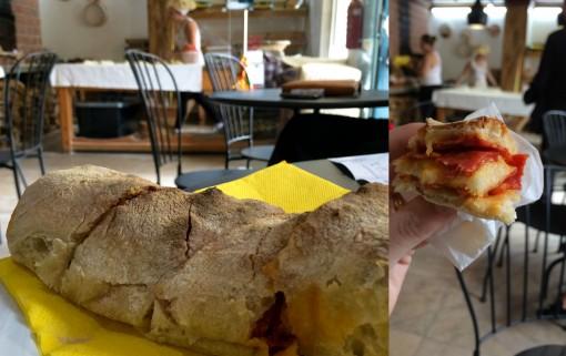 Pão com chouriço delicioso em Óbidos