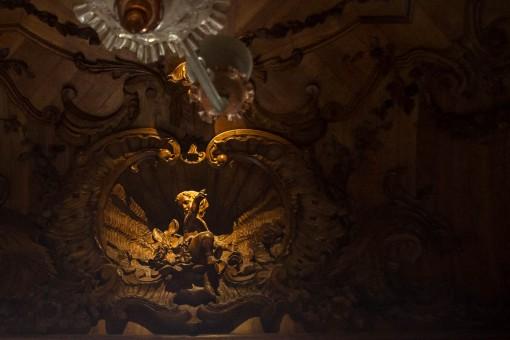 Detalhe do teto de uma das salas do palácio da Quinta. Quem é que tem tanto trabalho assim pra decorar o teto??