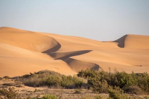 Nessas dunas dá pra andar de quadriciclo, camelo ou voar de parapente, só escolher.