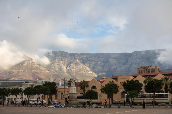 Vista da Table Mountain da Grand Parade