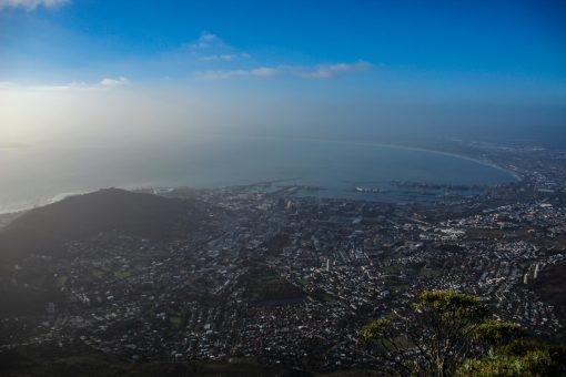 Mesmo com sol a visibilidade de cima da Table Mountain não era aquela beleza.
