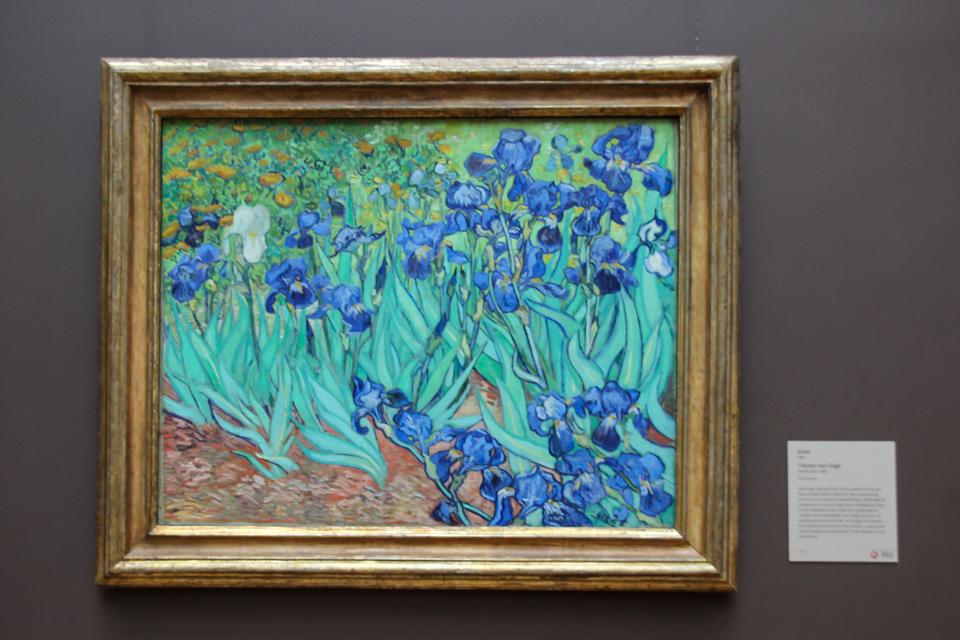 Quadro das tulipas de VAn Gogh predominantemente verde, azul marron