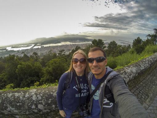 Vista de cima do morro onde fica o Santuário de Santa Luzia em Portugal