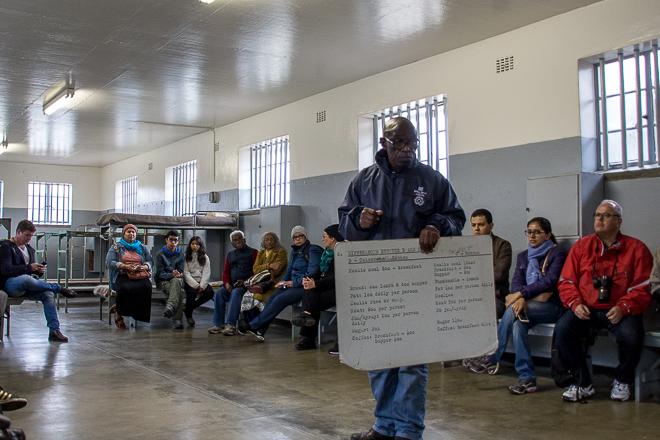 prisioneiro de Robben Island que foi nosso guia na visita