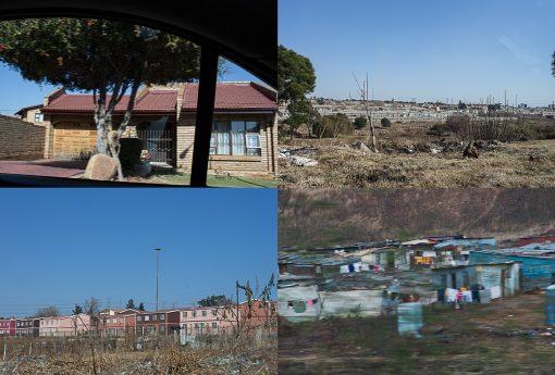 Case de classe média de Soweto, apartamentos tipo cohab e casas de latão.