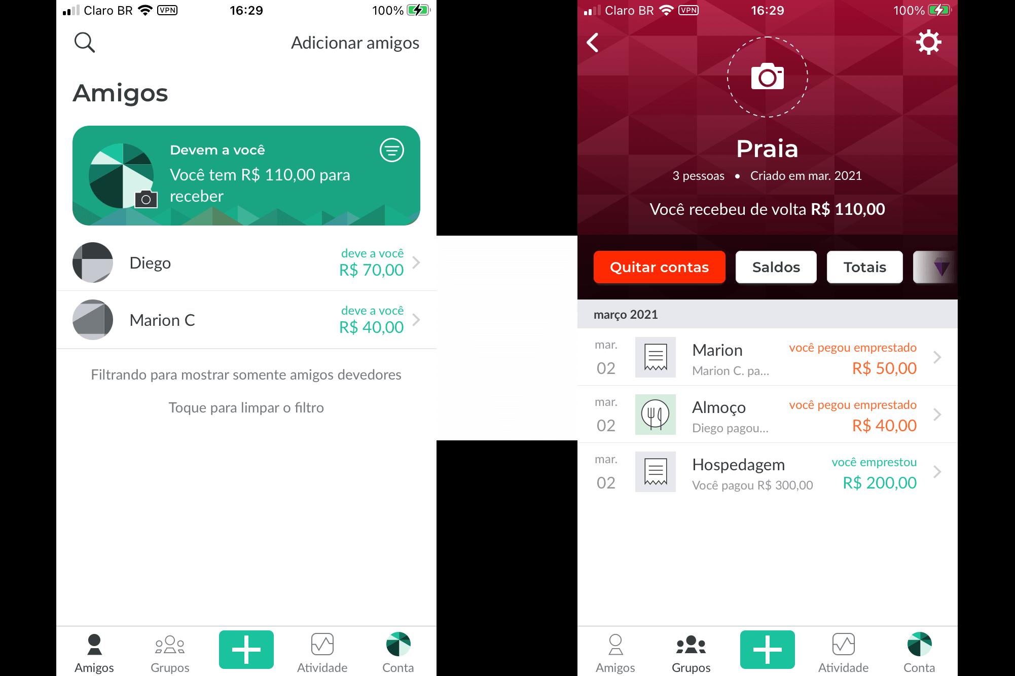 splitwise app para dividir despesa
