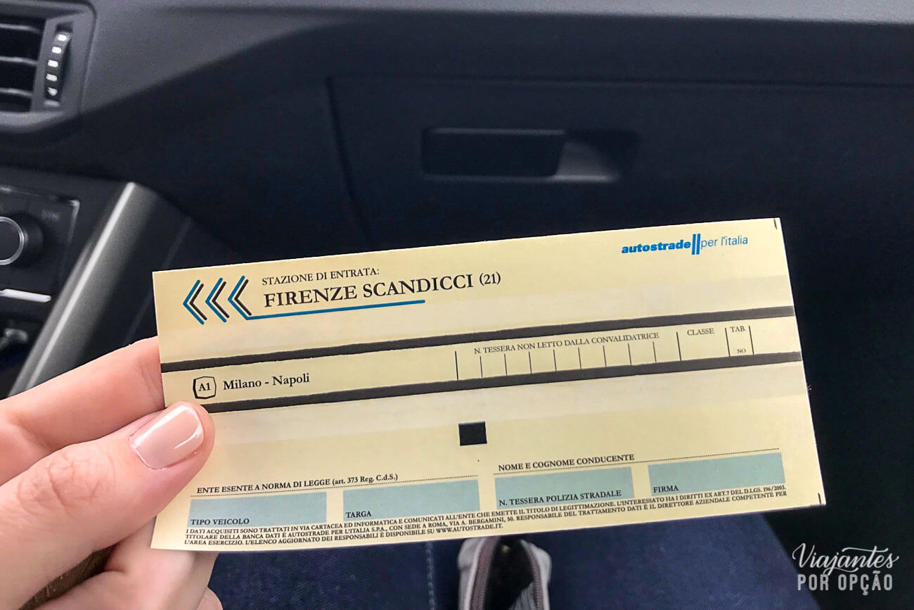 Alugar carro na Itália - ticket de pedágio